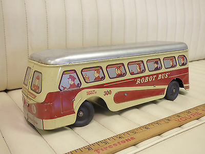 1949 Woodhaven Stamping - ROBOT BUS Wind Up Tin Toy