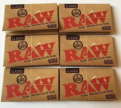6 Packs Of Authentic Raw Rolling Paper Classic Single Wide Natural Unrefined