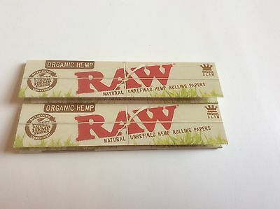 2 Packs Of Authentic Raw Natural Rolling Paper Organic Hemp King Size Slim