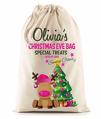 Personalised Girl's Pink Christmas Eve Reindeer Santa Sack stocking gift bag