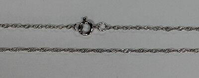 """14k 14kt White Solid Gold .7mm Singapore Necklace Chain W/ Spring Ring 16"""" 18"""""""