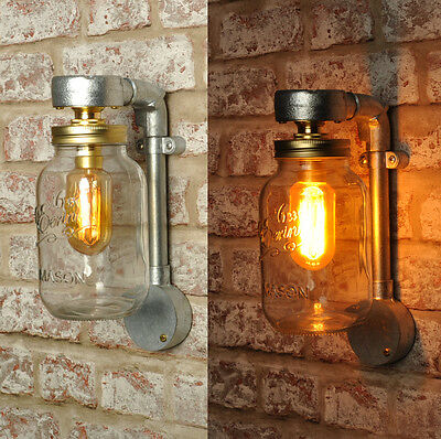 The Jones New Industrial Style Jar Wall Light Vintage Retro Lighting Sconce