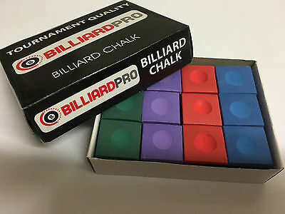 12 x Cubes / Pieces Snooker-Pool-Billiards Cues Club Chalks Tips 12 x Cubes, BOX