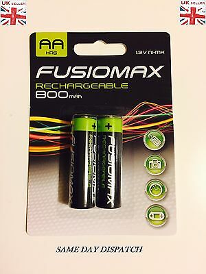 2 X FUSIOMAX AA 800mAh RECHARGEABLE BATTERIES CORDLESS PHONE 1.2 V Ni-MH HR6