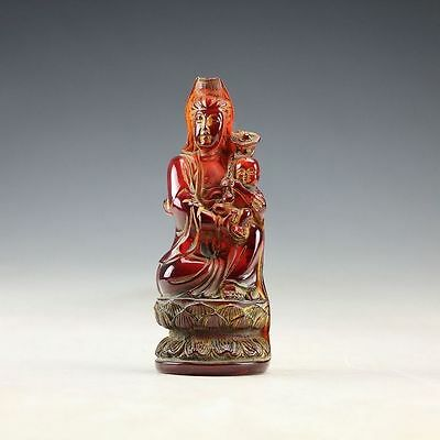 Oriental antique natural amber - SongZi guanyin bodhisattva statue carving