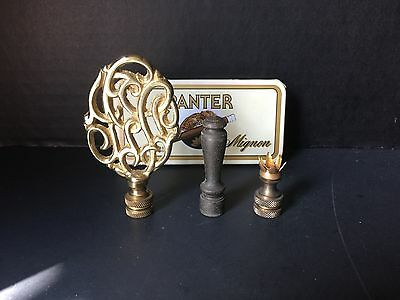 Lot Of 3 Vintage BRASS FINIALS + Panter Mignon Metal CIGAR CASE Made In Holland