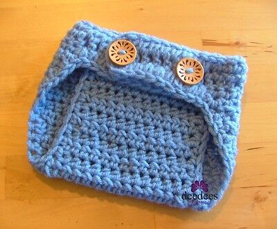 ~ NEW Baby Crochet NAPPY COVER - Photo Prop *Periwinkle Blue* 0-3m *QLD MADE* ~