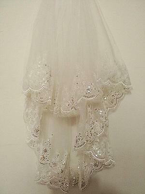 2T White/ Ivory Paillette Lace Bridal Veil With Comb (33in/26in)