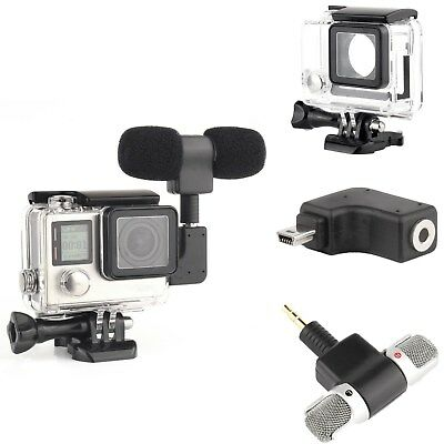 Side Open Skeleton Protect Housing Case Microphone Adapter For GoPro Hero 3+ 4