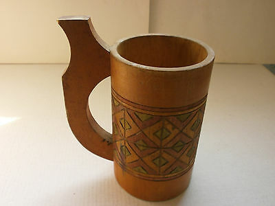 Vintage Old  Decorative  Wooden Mug, Cup - Hand Painted - Europe