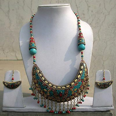 Multi Colour Stone Brass Necklace With Dangle Tibetan Party Belly Dance Wear