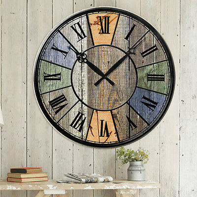 Antique Vintage Style Wooden Rustic Shabby Colorful Wall Clock Chic Home Decor