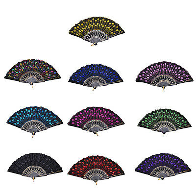 Embroidered Folding Sequins Hand Lace Flower Fan Party Wedding Decor GT