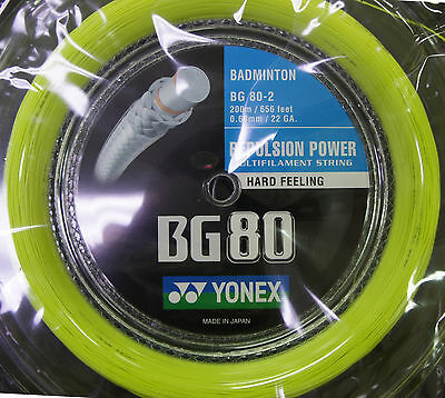 Yonex Badminton String, BG-80, 200m Coil YELLOW,  for 22 Racquets, Made in Japan