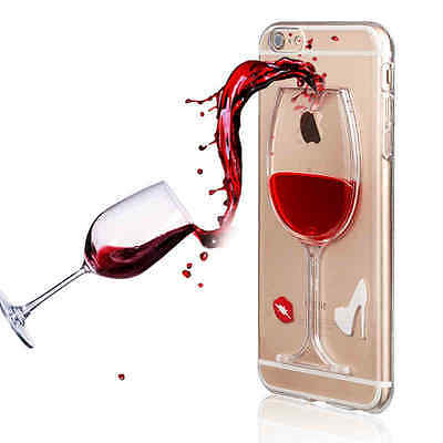 3D Liquid Wine Shockproof Soft Back Case Cover For iPhone X 6 7 8 Plus 4 5s SE