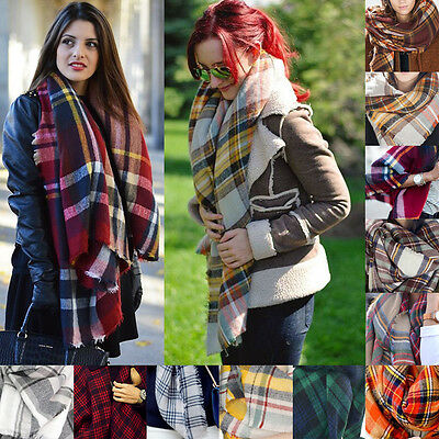 Cozy Checked Pashmina Oversized Tartan Scarf 2016 Women Blanket Wrap Shawl Plaid