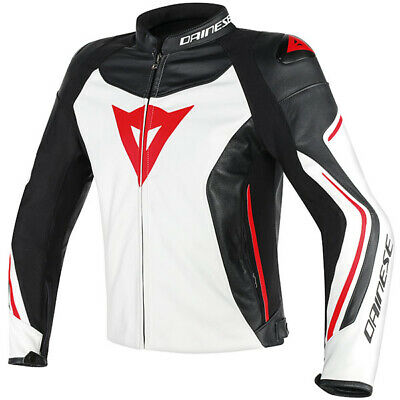 Dainese Assen Leather Motorcycle Motorbike Jacket - White / Black / Lava Red