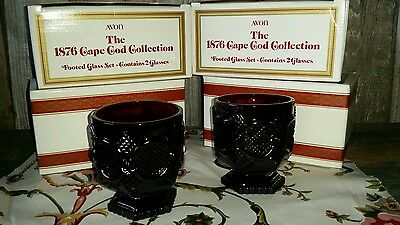 Set Of 8 Vtg Avon 1876 Cape Cod Ruby Red Short Goblet Tumblers Sherbet Glasses