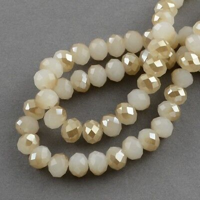 100 pcs RONDELLE FACETED GLASS CRYSTAL BEADS 6 mm Cream Beige Jewellery Making