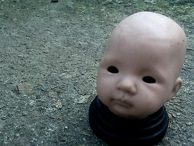 Super Creepy Vintage Ceramic Doll Head on Stand - Gothic Cabinet of Curiosities