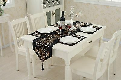 Black Table Runner Flocked Damask Cushion Chenille Placemat Tassel Wedding Decor