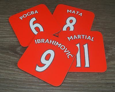 Personalised Football Manchester United Shirt Coasters For Mugs/Cups Any Name No
