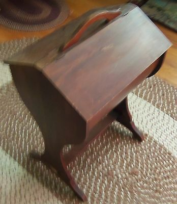 Antique Wood Sewing Box Cabinet Floor Stand