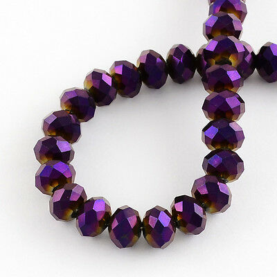 100 pcs  RONDELLE FACETED GLASS CRYSTAL BEADS 6mm PURPLE Jewellery Making