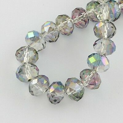70 pcs RONDELLE FACETED GLASS CRYSTAL BEADS 8 mm Green AB Jewellery Making