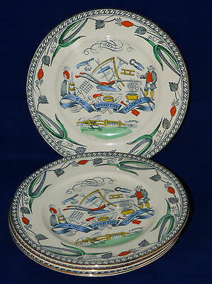 B & L Burgess & Leigh Farmers Arms God Speed The Plough Plate Set Of 4 England