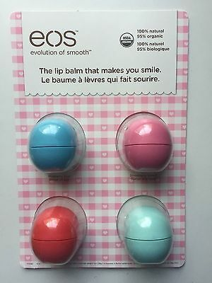 4 x Authentic EOS Smooth Sphere Lip Balm 100% Natural 95% Organic Long Expiry