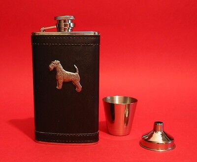 Airedale Terrier Black PU Leather 4oz Hip Flask Christmas Airedale Dog Gift Set