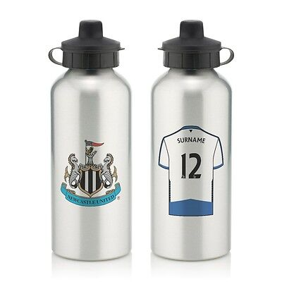 Personalised Newcastle United Aluminium Water Bottle 600ml Silver