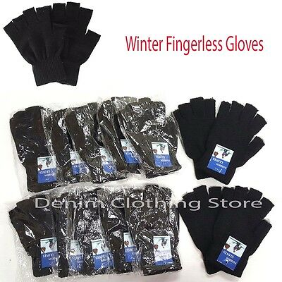 12 Unisex Black Knitted Fingerless Half Finger Magic Winter Gloves Lot Wholesale