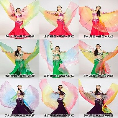 Multicoloured Isis Wings with 2 Aluminium Sticks Belly Dance Dancing CostumeAA32
