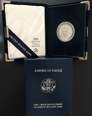 2003W PLATINUM American Eagle 1/2OZ proof with box&COA included