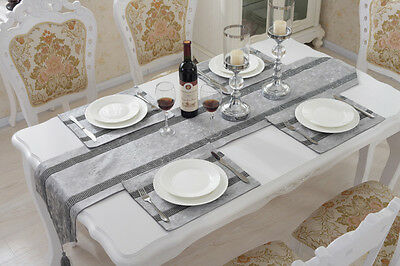 Silver Diamante Chenille Placemat Flocked Damask Table Runner Set Wedding Decor