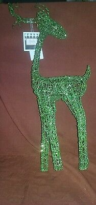 Green Wire Metal Reindeer  Christmas Decoration