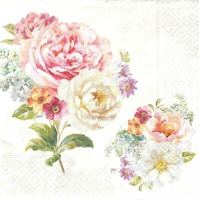 2 Serviettes en papier Bouquet Romantique Decoupage Paper Napkins Romantic Lace