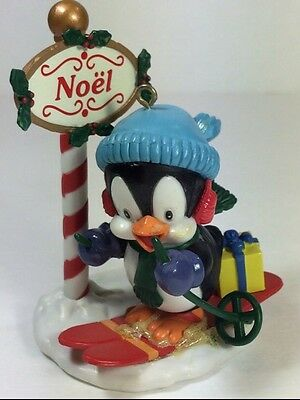 Ornamotion Christmas Rotating Penguin Skiing North Pole Tree Ornament 1989