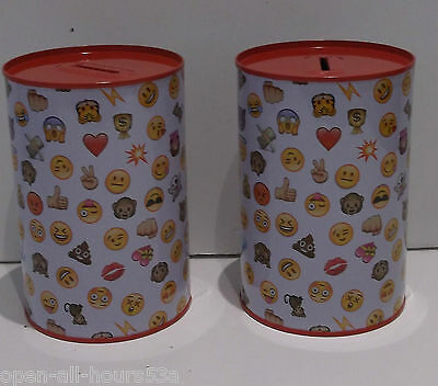 2 x emoji Money Tins Saving up Money Box boxes  New