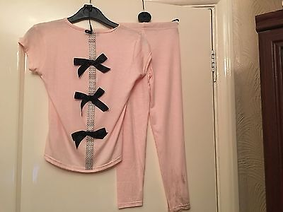 Chic London Lounge Suit Age 3-4 Years Pink Glitter & Black Bows On Back BNWT