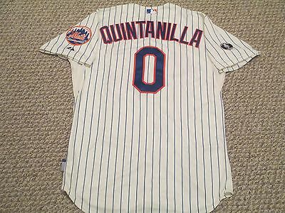 Omar Quintanilla #0 2014 Game Used Mets Jersey Home Pinstripe size 46 MLB holo