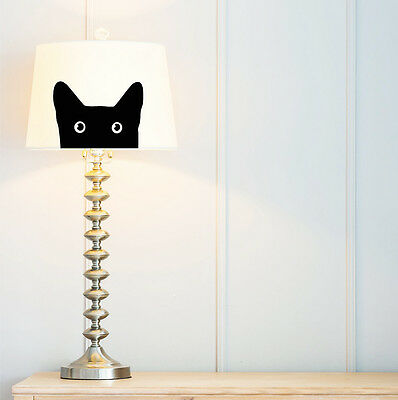 Cat | Lampshade 23 cm (9 in) fabric, black, hand painted