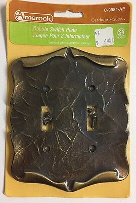 New Vintage Amerock Carriage House Double Toggle Light Switch Cover Plate Brass
