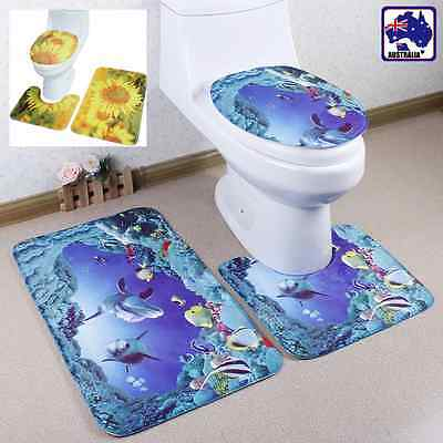 3pcs Non-Slip Bathroom Rug Bath Mat Contour Toilet Seat Lid Cover Set HTOC220