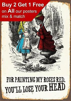 Alice In Wonderland you'll lose your head - Vintage Classic Poster Print