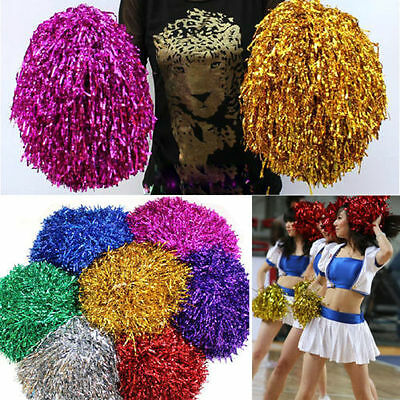 1pc Metallic Cheerleader Cheer Cheerleading Dance Party Dress Pom Poms Xmas RW