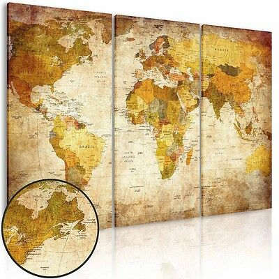 World Map Printing Stretched Canvas Wall Art Home Office Decor Vintage Poster
