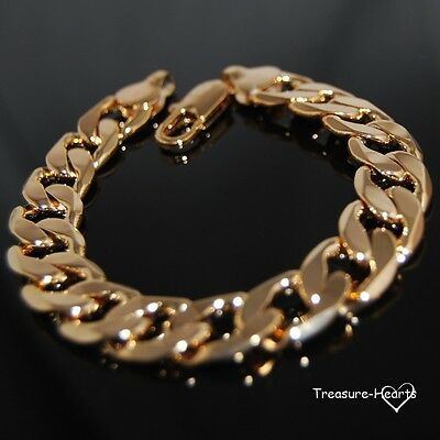Heavy 18k yellow gold filled 12mm Solid Curb Link Chain Bracelet Mens or Womens